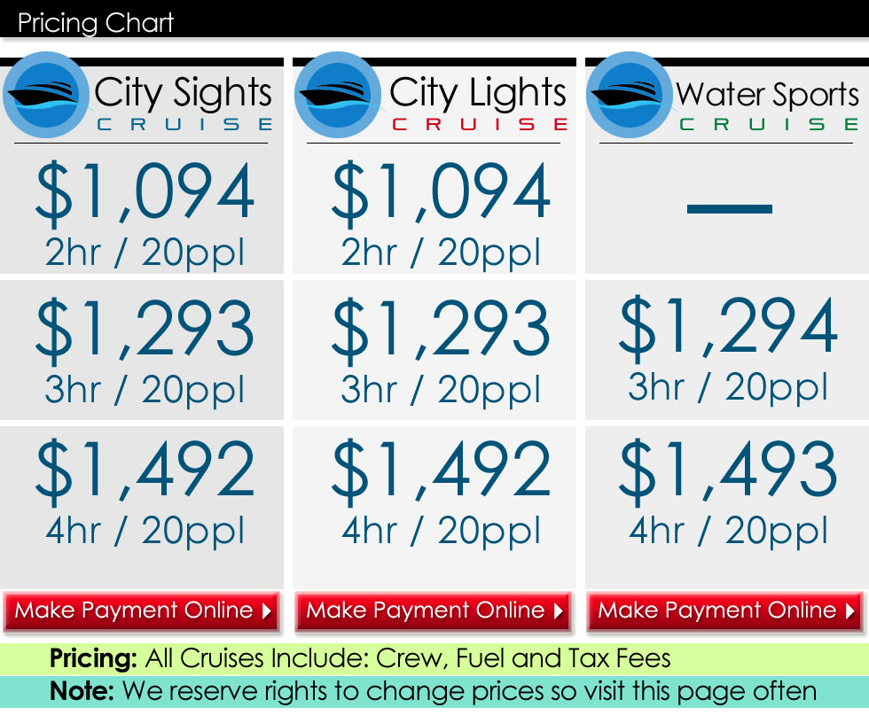 Capt Nick's Miami Charters Pricing Chart